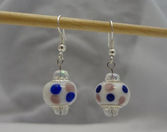 Polka Dot Beaded Dangle Earrings of Pink and Blue