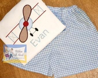Baby Boys- Toddler Boys- Boys Personalized Propeller Plane Shirt- Propeller Applique Shirt- Short Set- Size 6m, 12m, 18m, 2t, 3t, 4t, 5t, 6