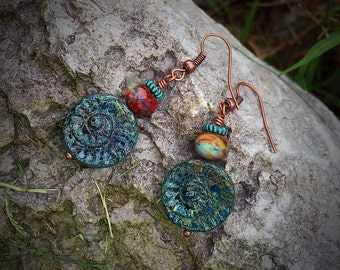 Earthy vintage style Czech glass and copper earrings