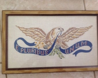 Vintage Embroidery Cross Stitch Eagle Framed Sampler