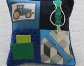 Fidget Cushion ~ Sensory Activity Pillow ~ Dementia Twiddle Cushion ~ Alzheimer Gift ~ John Deere Tractor ~