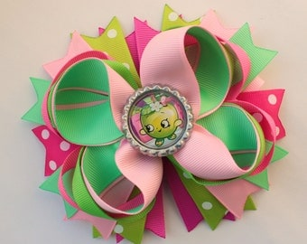 Pink baby Hair Bow Apple Stacked hair bow boutique hair bow Apple Bow Birthday hair bows birthday Party girls bow pink Green apple hair bows