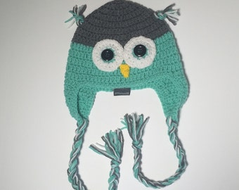 Size 6-12 month Mint Green Owl Hat