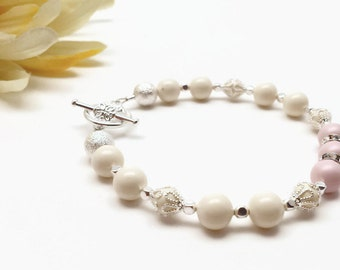 Pearl Bracelet,  Pastel Pink Bracelet, Pink Pearl Bracelet, Pink Bracelet,  Pearl Bracelet