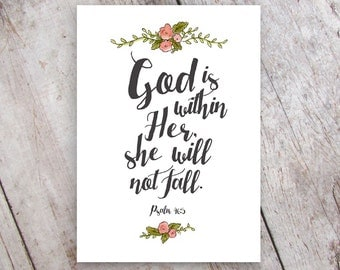 God is within her, she will not fall Psalm 46:5 Art Print Printable Instant Download Nursery Art