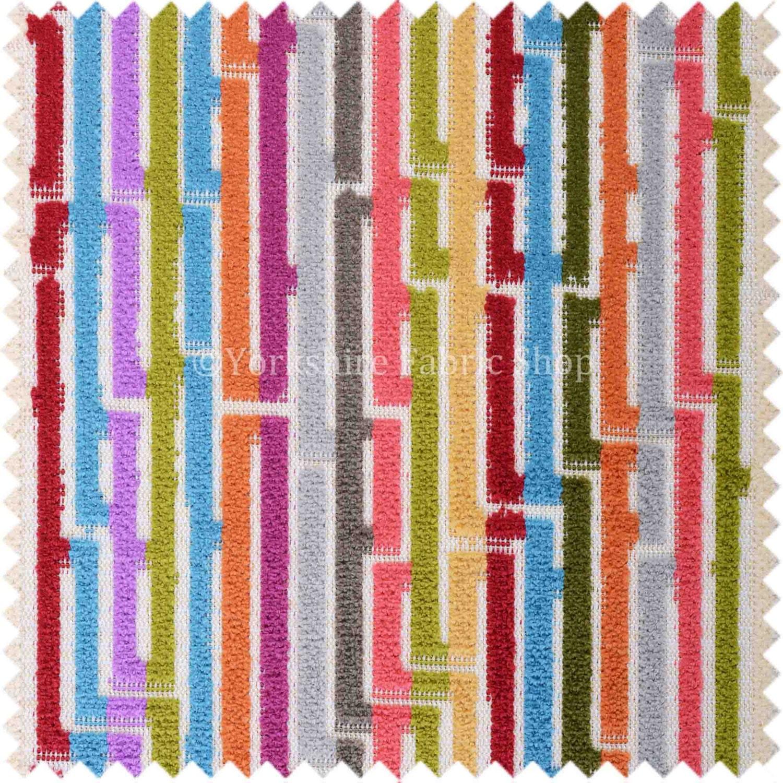 Soft Woven Jacquard Velvet Fabric Bright Coloured Geometric Striped Upholstery Fabrics For Sofas