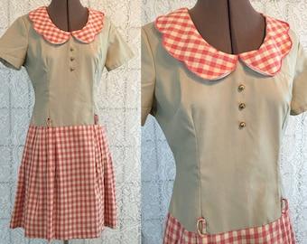 Adorable gingham picnic party dress - drop waist, back zip, peter pan collar, button detailing - small