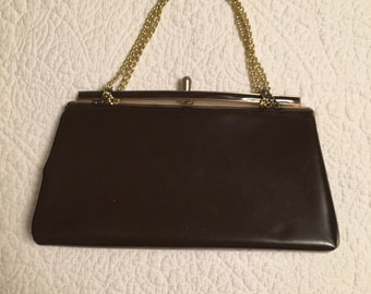 Vintage Brown Patent Leather Gold Chain Purse Evening Bag