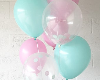 Pink Mint Latex Balloons Pink Mint Party Balloons Pink Bridal Shower Pink Balloons Pink Mint Confetti Balloons Shabby Chic Party Decor