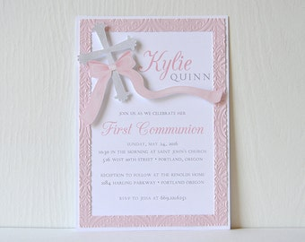 Lace Communion Layered & Embossed Invitations: Elegant card with layered crucifix and embossed border, pick colors and customize - LRD030P