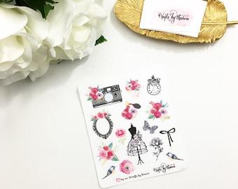 Scarlet Rose Decorative Elements | Planner Stickers