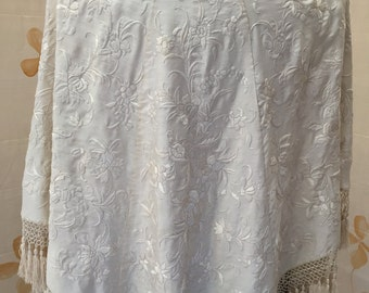 Titanic era heavily embroidered silk cape canton shawl with fringe
