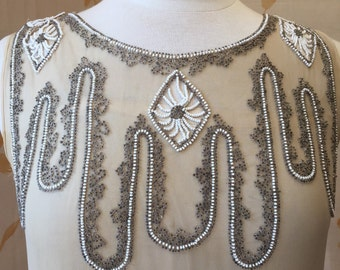 1920s deco vintage beaded silk chiffon flapper dress