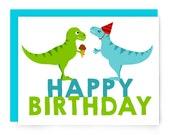 Dinosaur birthday card - cute dinosaurs - illustrated greeting card - tyrannosaurus rex t. rex - happy birthday - nerdy card - blank card