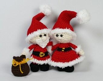 Mini Mr. and Mrs. Santa, amigurumi crochet patterns, set