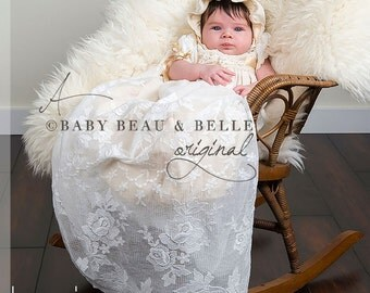 Girls Christening Gown 'Louisa', Girls Newborn Baptism Gown