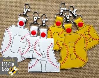 baseball alphabet snap tab set all 26 letters. embroidery design ITH in the hoop 4x4 5x7.