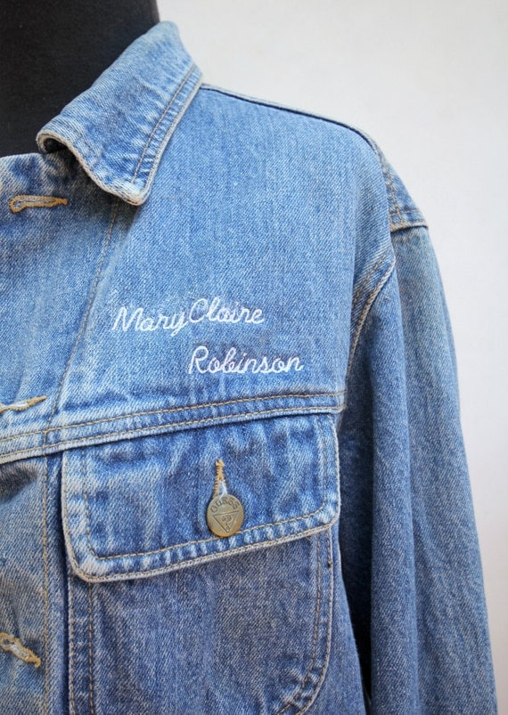 Name embroidered vintage levi denim jacket by wtfembroidery