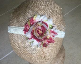 Ivory Floral Chiffon Shabby Chic Headband