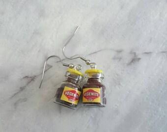 Vegemite miniature jar charm earrings