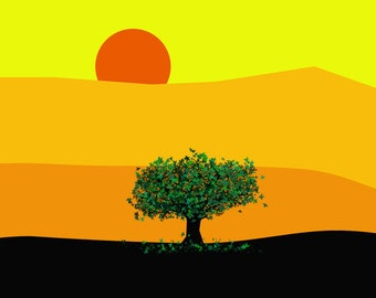 Yellow countryside large poster-Original Colourful tree-Nature poster-Sunset print-Panorama Decorative Art Print-Colourful print-Cool print