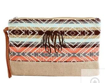Burlap bottom Cosmetic/Makeup Bag Neutral Color Geometric Stripe
