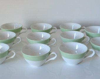 Coffee set porcelain, vintage, white and green mint, coffee, China, cups