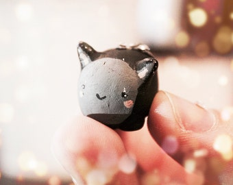 Mini Cat Charm with Svarowski crystals made from Polymer clay!