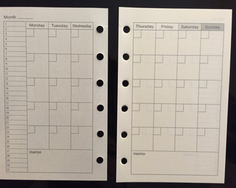Printed Pocket Sized Planner Filofax Kikki K Small Monthly Undated Inserts 20 Sheets