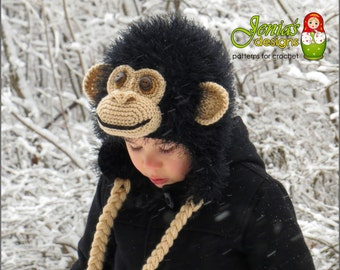 CROCHET PATTERN - Crochet Chimpanzee Hat, Monkey/Ape Hat Pattern for Baby, Toddler, Child, Teen, Adult, Boys/Girls  - Photo Prop or Costume