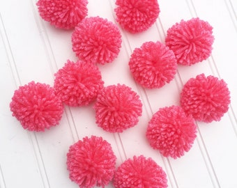 12 Tropical Pink Yarn Pom Poms, Craft Supplies, Party Decor