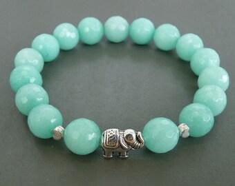 Mint bracelet, Amazonite Bracelet, Elephant Bracelet for her, Blue Bracelet, Beaded Bracelet, Elephant Jewelry, Girlfriend Gift for her