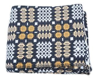 Pure wool Welsh tapestry blanket. Slate Grey.