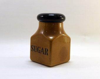 """Derek Fowler - Large Brown Pottery """"SUGAR"""" Jar w/ Black Lid"""