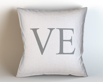 LOVE (VE) / Decorative Throw Pillow/ Pick Your Color/ Custom Color/ Home Decor/ Love Pillow Cover/ Love Pillow/ VE