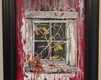 "Original ""Weathered Barn Sash"" Framed Acrylic Painting on a Stretched Gallery Canvas. #15-044"
