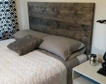 Ebony Rustic Wood Headboard - Twin-King - Choose from 6 stains - Includes photo instructions for easy assembly - No legs/bedframe needed