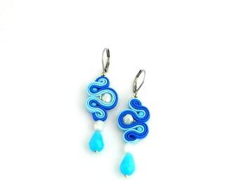 Blue dangle earrings, dangle crystal light blue earrings, long earrings, cobalt blue boho earrings, soutache earrings, gift for her