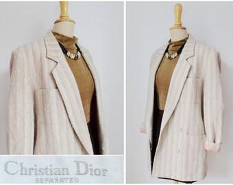 Christian DIOR Jacket Blazer ~ size 8 10 ~ Wool Tweed ~ Beige Brown Oversize Vintage 80s 90s