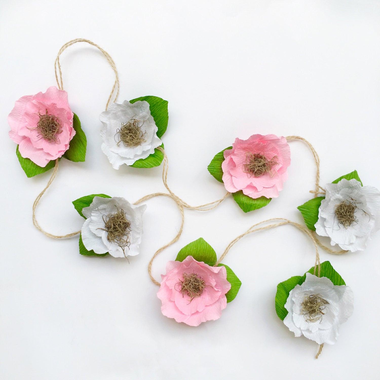 Flower Garland: Crepe Paper Flower Garland-Crepe Paper Flower Garland-paper