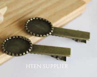 50 or 100pcs 13x18mm Blank Bobby Pins Tray, bobby pin blanks , Bobby Pin Cameo Base Setting