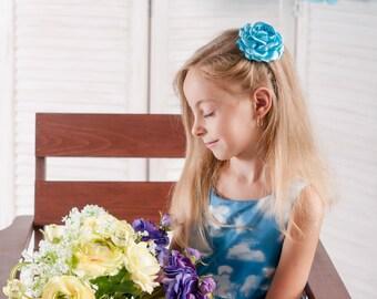 Light blue flower hair clip Blue peony flower clip Flower girl hair accessories Hair clip for girls Hair clip barrette Big flower hair pin