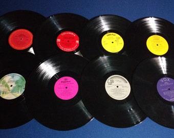 Set of 16 Vintage Crafting Vinyl, 12 Inch, Colorful Labels Set #3 /DIY Coasters / Crafting Albums