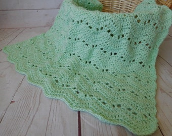 Baby crochet blanket - mint baby blanket - gender neutral baby bedding - nursery decor - travel blanket