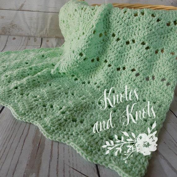 Baby crochet blanket mint baby blanket gender by ...
