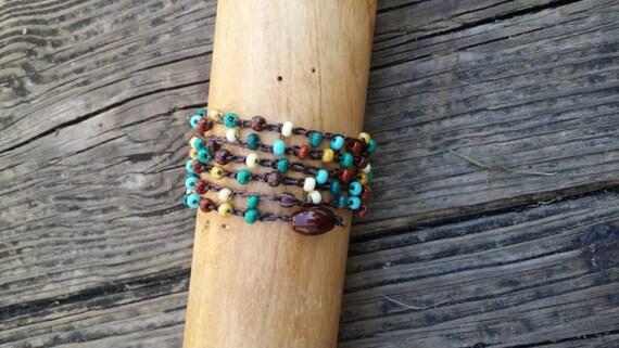 Crochet Beaded Wrap Bracelet / Bohemian Wrap bracelet / Yoga Bracelet/ Beach Bracelet/ Layering Bracelet/Seed Bead Bracelet/Crochet Necklace