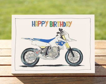 "Motorcycle Birthday Card - Supermotard | A6 - 6"" x 4"" / 103mm x 147mm 