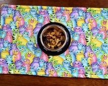 Cat Placemat, Pet Bowl Mat, Pet Food Mat, Reversible Pet Placemat, Colorful Cats, Machine Wash Dry, Cat Supplies, Cat Bowl Mat, Pet Feeding