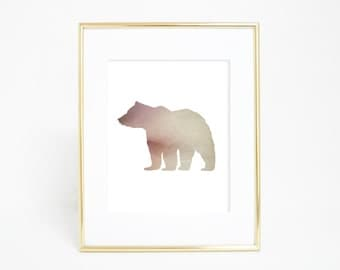 Woodlands Art Print, Forest Animal Print, Woodland Nursery Art, Bear Wall Art, Bear Artwork, Bear Wall Decor, Downloadable Bear Art Print