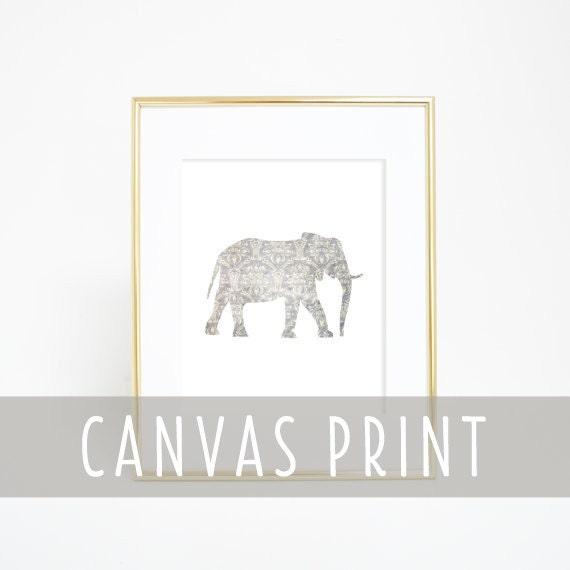 Elephant Print, Canvas Print, Canvas Wall Art, Elephant Decor, Nursery Print, Nursery Wall Art, Nursery Elephant, Nursery Decor